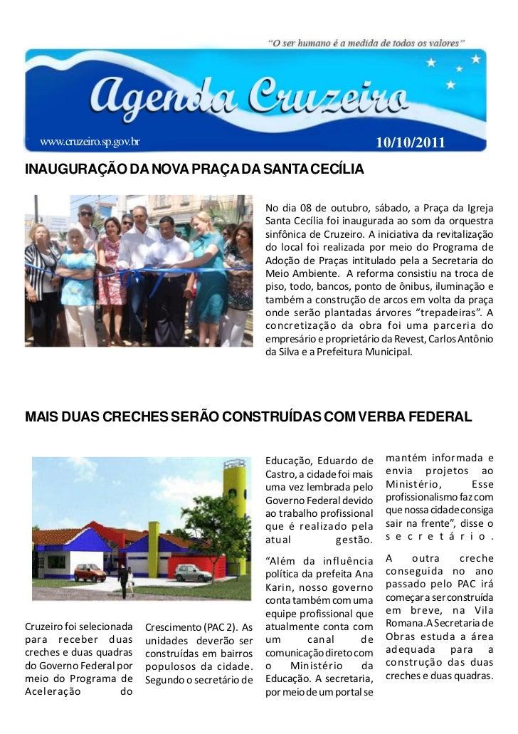www.cruzeiro.sp.gov.br                                                         10/10/2011INAUGURAÇÃO DA NOVA PRAÇA DA SANT...