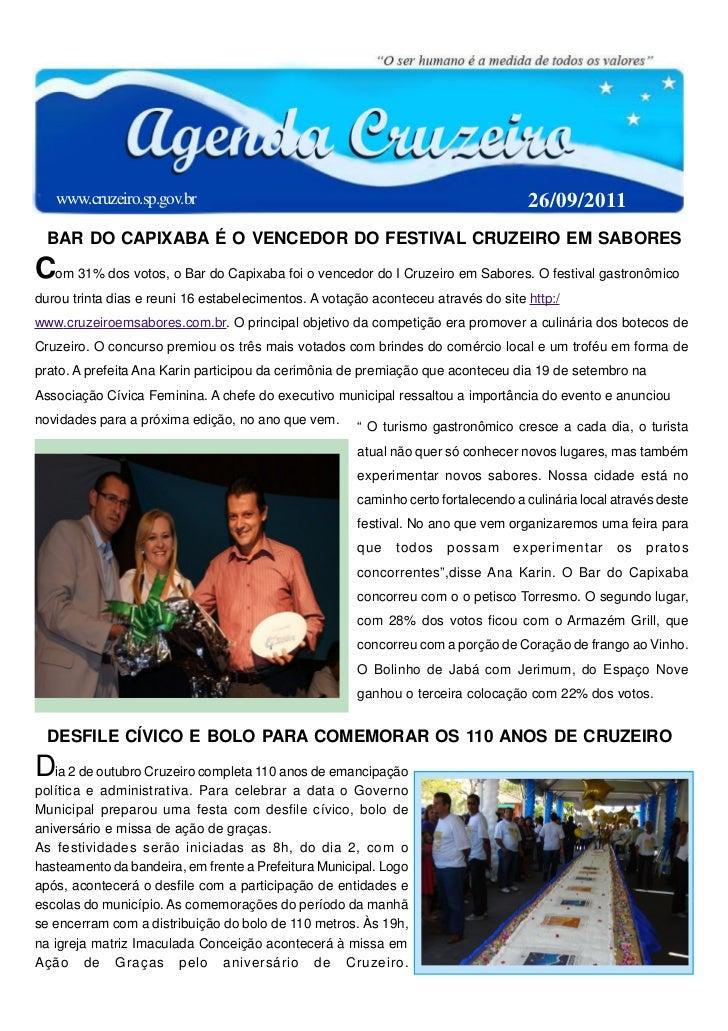 www.cruzeiro.sp.gov.br                                                          26/09/2011  BAR DO CAPIXABA É O VENCEDOR D...