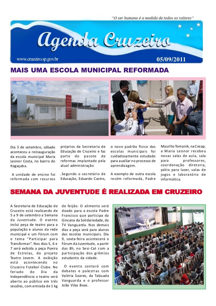 www.cruzeiro.sp.gov.br                                                                     05/09/2011MAIS UMA ESCOLA MUNIC...