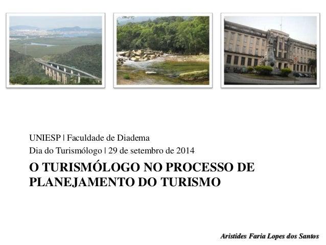 UNIESP | Faculdade de Diadema  Dia do Turismólogo | 29 de setembro de 2014  O TURISMÓLOGO NO PROCESSO DE  PLANEJAMENTO DO ...