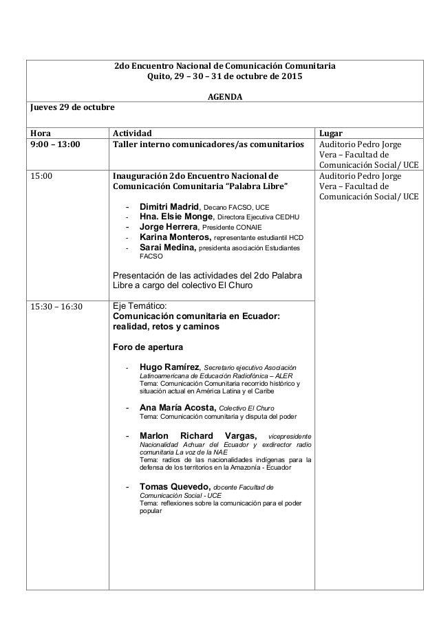 2do  Encuentro  Nacional  de  Comunicación  Comunitaria   Quito,  29  –  30  –  31  de...
