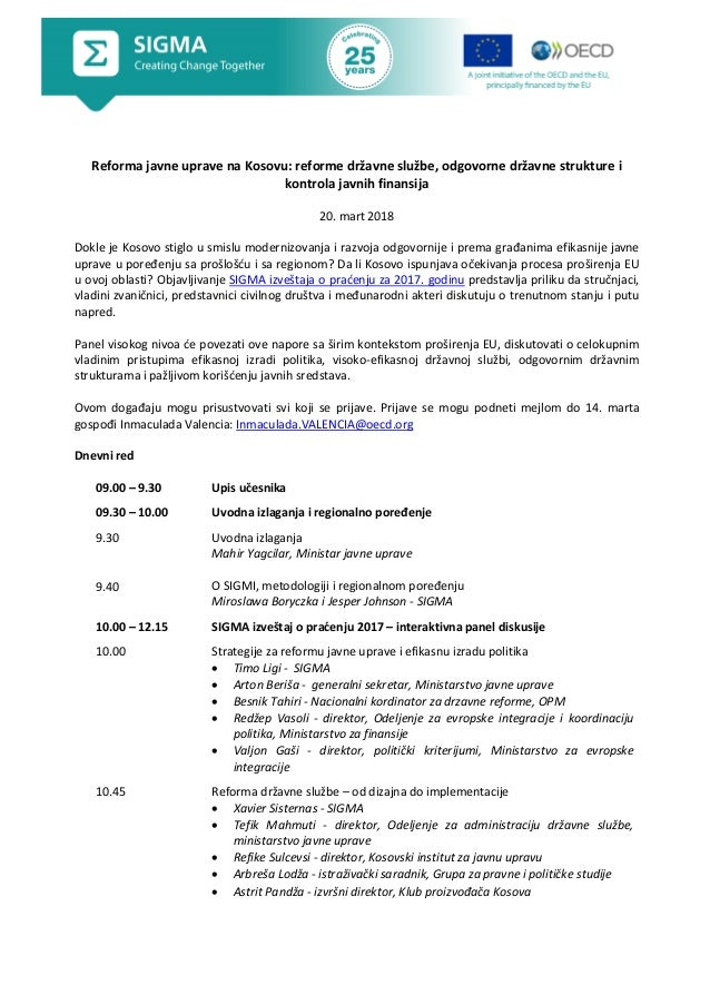 Reforma javne uprave na Kosovu: reforme državne službe, odgovorne državne strukture i kontrola javnih finansija 20. mart 2...