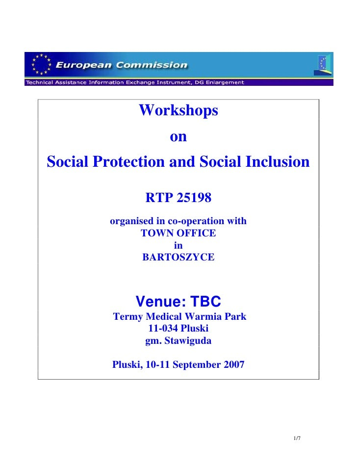 Workshops                       on Social Protection and Social Inclusion                  RTP 25198          organised in...