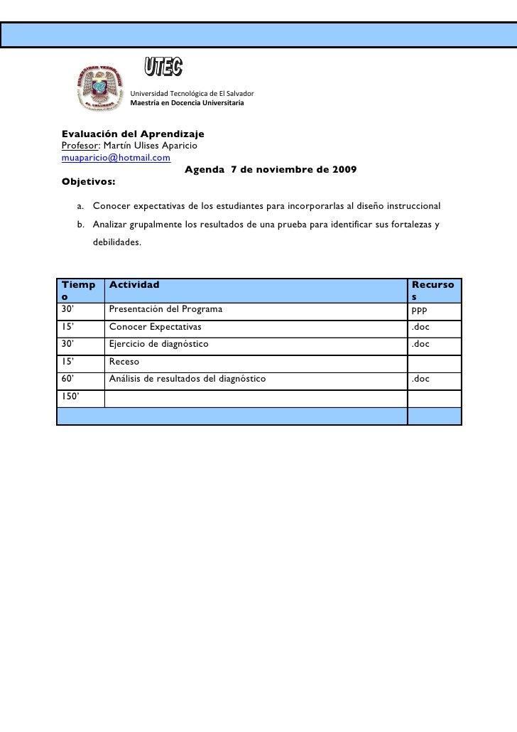 Universidad Tecnológica de El Salvador                   Maestría en Docencia Universitaria    Evaluación del Aprendizaje ...