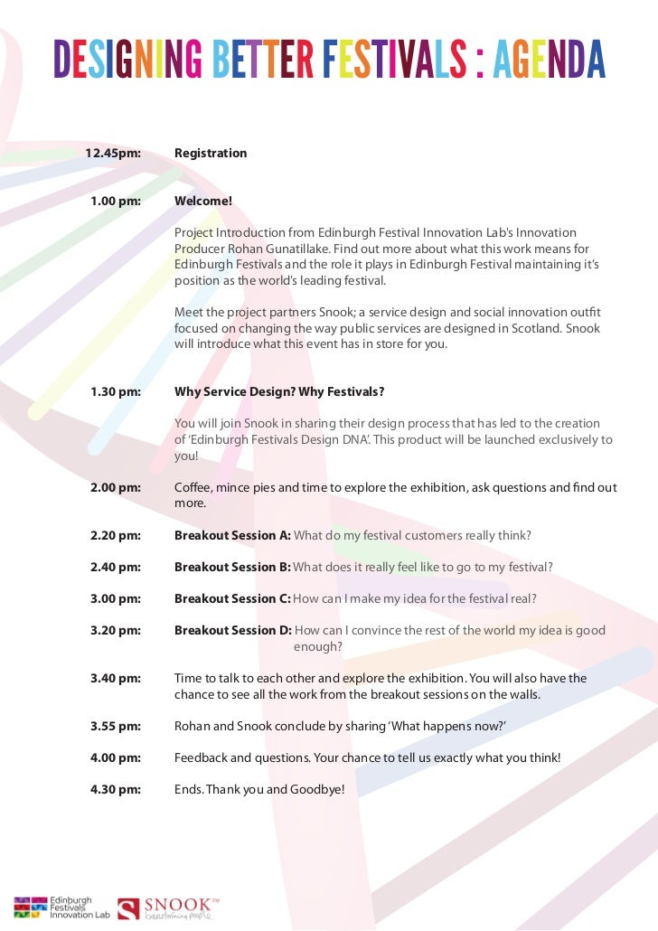 DESIGNING BETTER FESTIVALS : AGENDA  12.45pm:   Registration  1.00 pm:   Welcome!             Project Introduction from Ed...