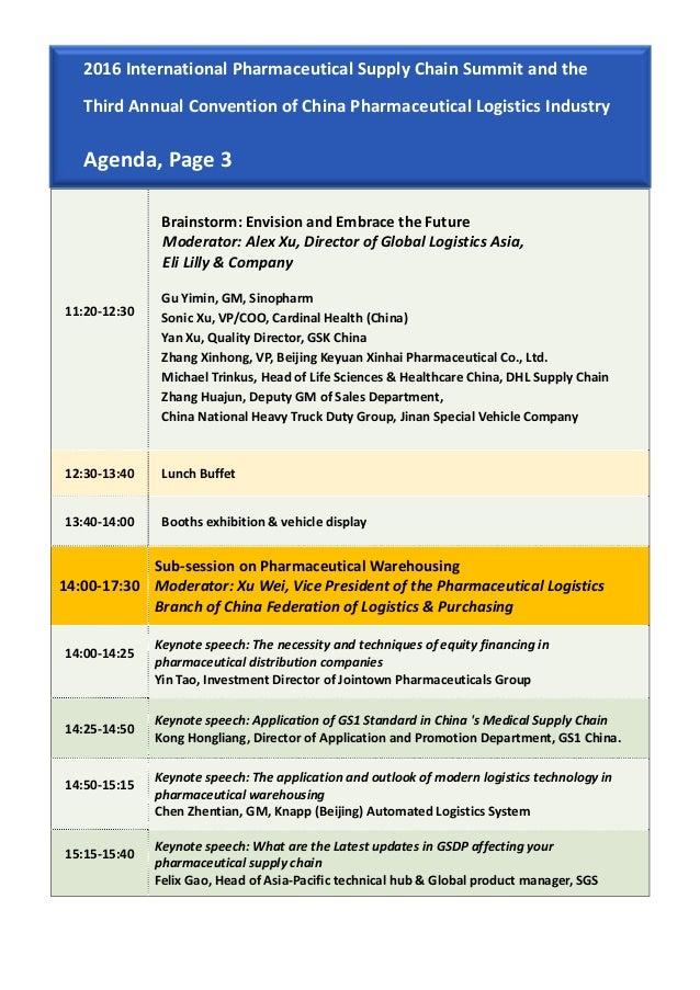 2016 International Pharmaceutical Supply Chain Summit