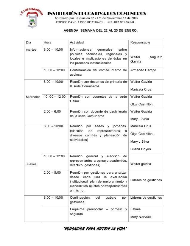 INSTITUCIÓN EDUCATIVA LOS COMUNEROS                   Aprobado por Resolución N° 2171 de Noviembre 13 de 2002             ...