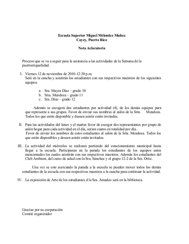 Escuela Superior Miguel Mélendez Muñoz Cayey, Puerto Rico Nota Aclaratoria Proceso que se va a seguir para la asistencia a...