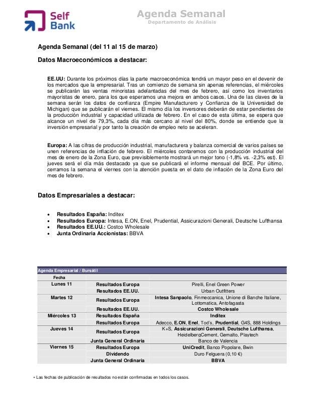 Agenda Semanal                                                            Departamento de Análisis  Agenda Semanal (del 11...