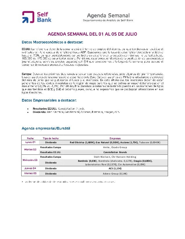   Dividendo Red Eléctrica (1,689€), Gas Natural (0,503€), Acciona (1,75€), Tubacex (0,0043€) Resultados Europa Anite, Oc...