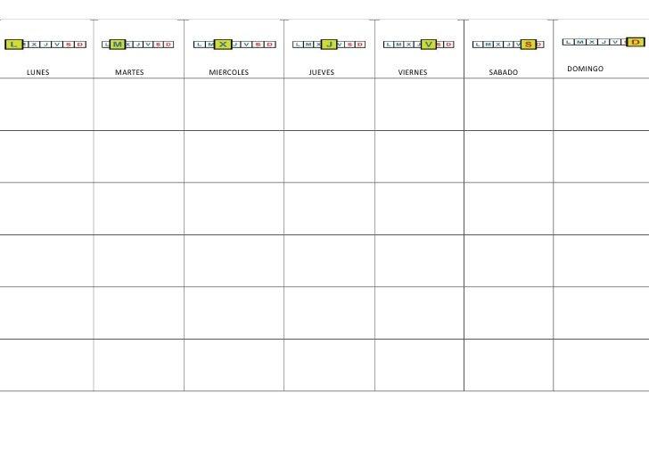 calendarios en blanco