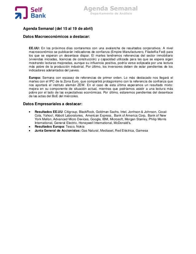 Agenda Semanal                                             Departamento de AnálisisAgenda Semanal (del 15 al 19 de abril)D...