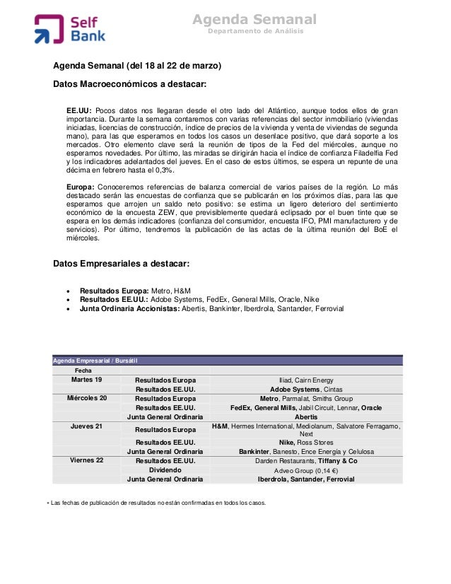 Agenda Semanal                                                            Departamento de Análisis  Agenda Semanal (del 18...