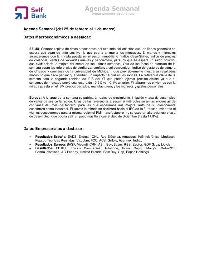 Agenda Semanal                                             Departamento de AnálisisAgenda Semanal (del 25 de febrero al 1 ...