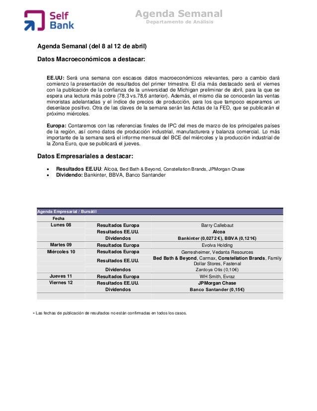 Agenda Semanal                                                            Departamento de Análisis  Agenda Semanal (del 8 ...