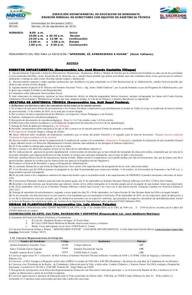 DIRECCIÓN DEPARTAMENTAL DE EDUCACION DE SONSONATE REUNIÓN MENSUAL DE DIRECTORES CON EQUIPOS DE ASISTENCIA TÉCNICA LUGAR: U...