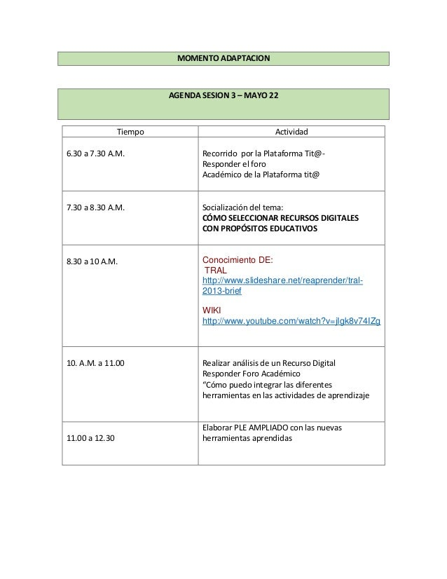 MOMENTO ADAPTACION AGENDA SESION 3 – MAYO 22 Tiempo Actividad 6.30 a 7.30 A.M. Recorrido por la Plataforma Tit@- Responder...