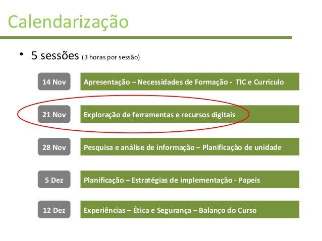 Calendarização • 5 sessões (3 horas por sessão) 14 Nov 21 Nov 28 Nov 5 Dez 12 Dez Apresentação – Necessidades de Formação ...