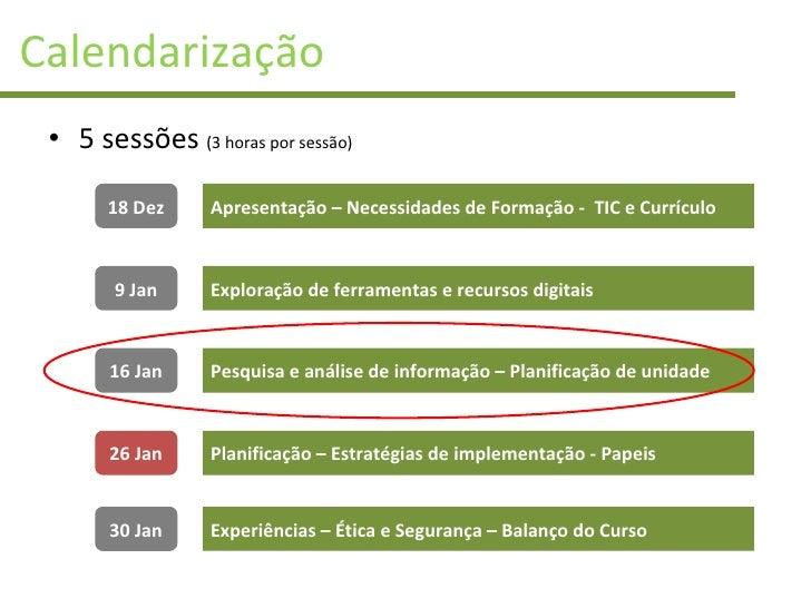 Calendarização <ul><li>5 sessões  (3 horas por sessão) </li></ul>18 Dez 9 Jan 16 Jan 26 Jan 30 Jan Apresentação – Necessid...