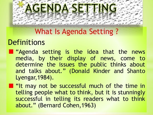 Agenda Setting Presented By H Ghulam Ali Saqi From
