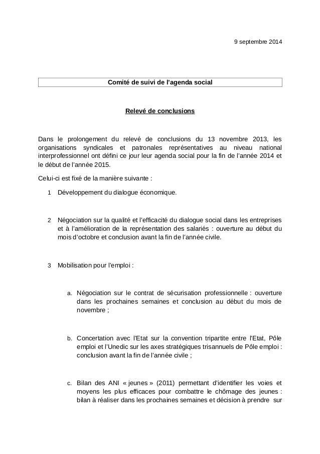 9 septembre 2014  Comité de suivi de l'agenda social  Relevé de conclusions  Dans le prolongement du relevé de conclusions...