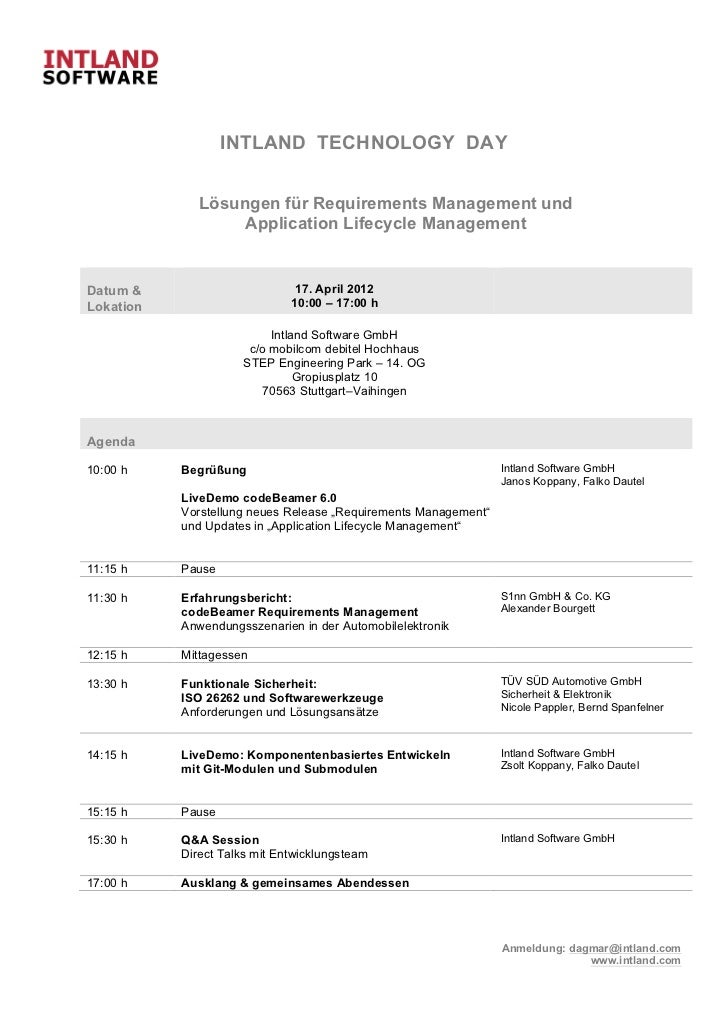 INTLAND TECHNOLOGY DAY              Lösungen für Requirements Management und                   Application Lifecycle Manag...