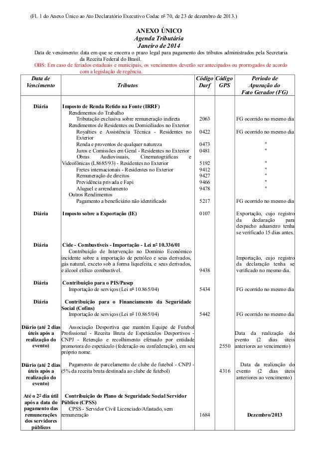 (Fl. 1 do Anexo Único ao Ato Declaratório Executivo Codac nº 70, de 23 de dezembro de 2013.)  ANEXO ÚNICO Agenda Tributári...
