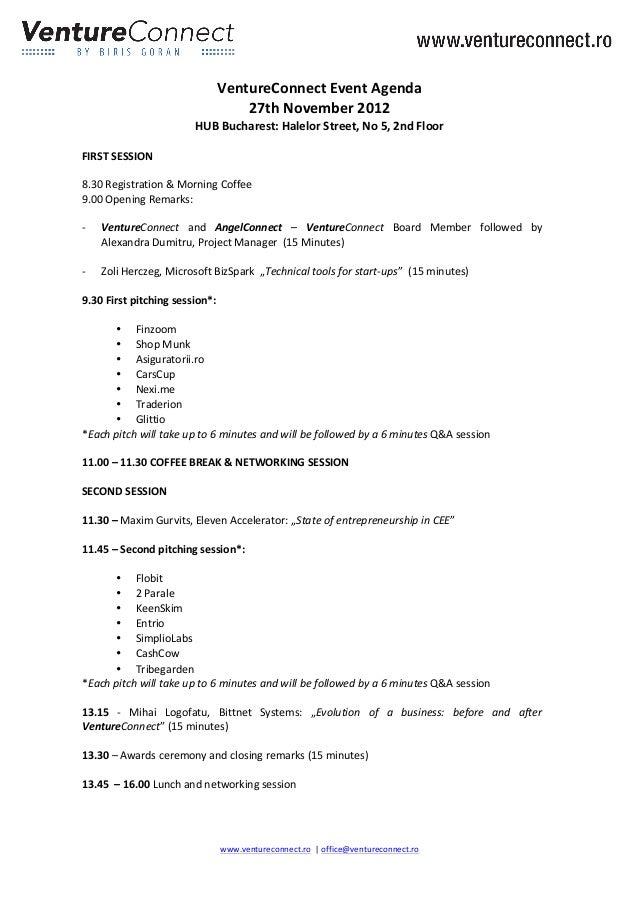 VentureConnect Event Agenda                                              ...