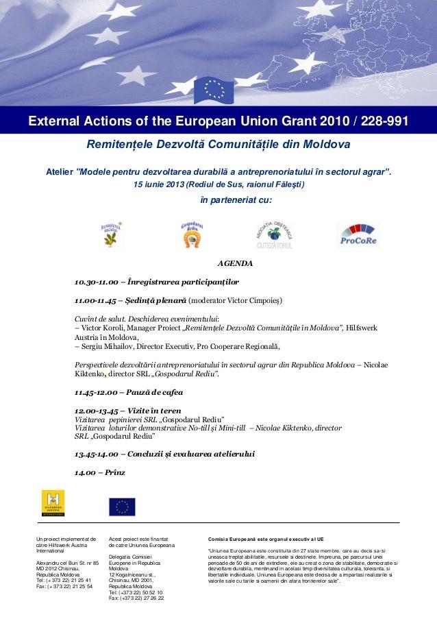 """Remitenţele Dezvoltă Comunităţile din MoldovaAtelier """"Modele pentru dezvoltarea durabilă a antreprenoriatului în sectorul ..."""