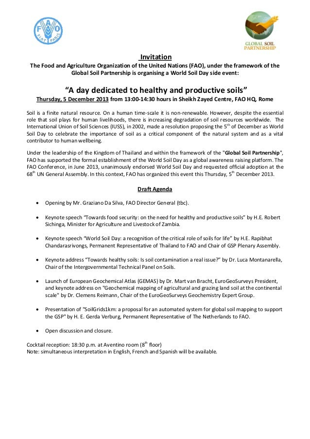 Invitation The Food and Agriculture Organization of the United Nations (FAO), under the framework of the Global Soil Partn...