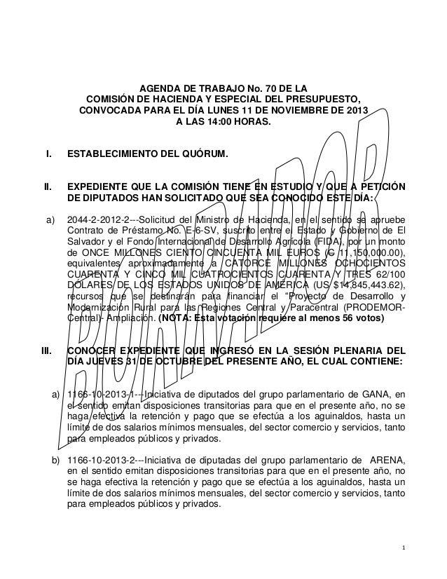 AGENDA DE TRABAJO No. 70 DE LA COMISIÓN DE HACIENDA Y ESPECIAL DEL PRESUPUESTO, CONVOCADA PARA EL DÍA LUNES 11 DE NOVIEMBR...