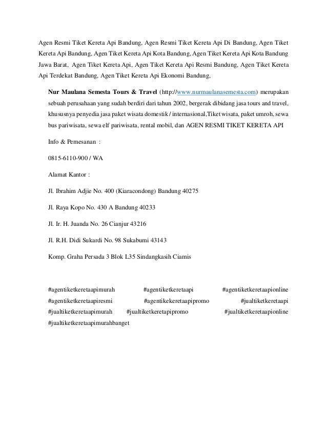 agen resmi tiket kereta api bandung rh slideshare net