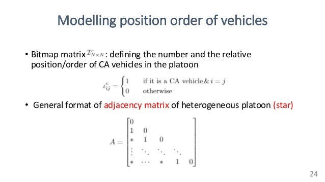 Modelling position order of vehicles • Bitmap matrix : defining the number and the relative position/order of CA vehicles ...