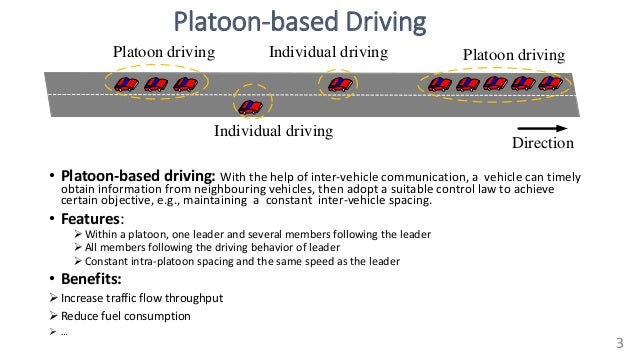 Platoon-based Driving • Platoon-based driving: With the help of inter-vehicle communication, a vehicle can timely obtain i...