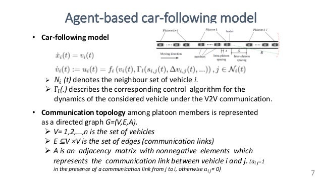Agent-based car-following model 7  𝑁𝑖 (t) denotes the neighbour set of vehicle i.  Γ𝑙(.) describes the corresponding con...