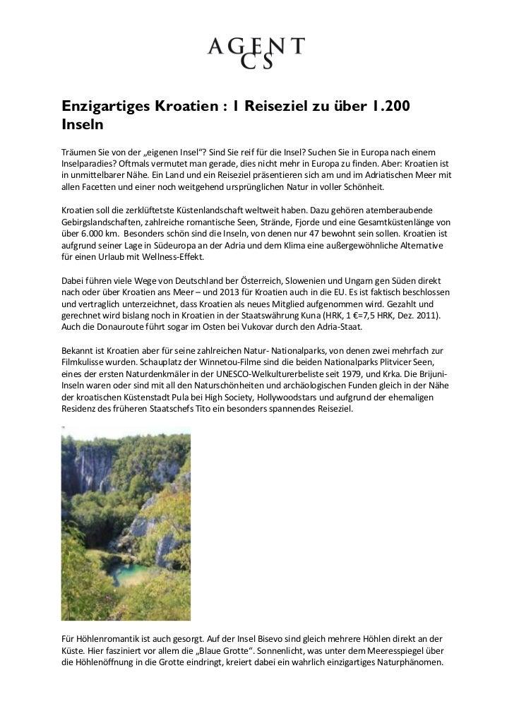 """Enzigartiges Kroatien : 1 Reiseziel zu über 1.200InselnTräumen Sie von der """"eigenen Insel""""? Sind Sie reif für die Insel? S..."""
