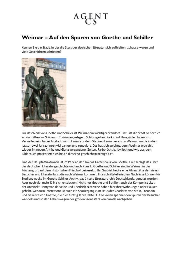 Weimar – Auf den Spuren von Goethe und SchillerKennen Sie die Stadt, in der die Stars der deutschen Literatur sich aufhiel...