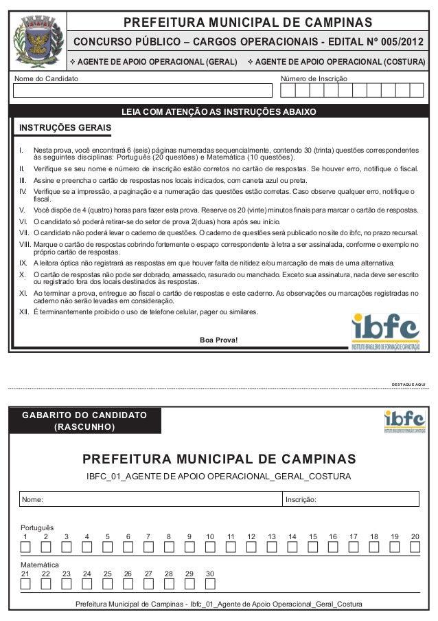 PREFEITURA MUNICIPAL DE CAMPINAS  CONCURSO PÚBLICO – CARGOS OPERACIONAIS - EDITAL Nº 005/2012 AGENTE DE APOIO OPERACIONAL ...