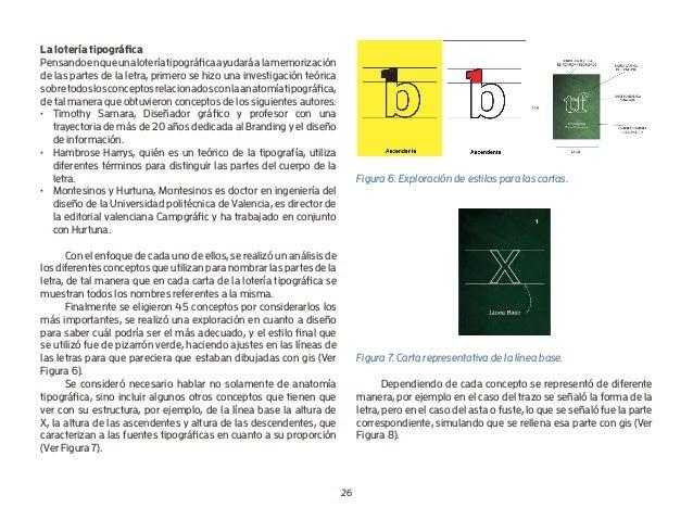 26 La lotería tipográfica Pensandoenqueunaloteríatipográficaayudaráalamemorización de las partes de la letra, primero se h...