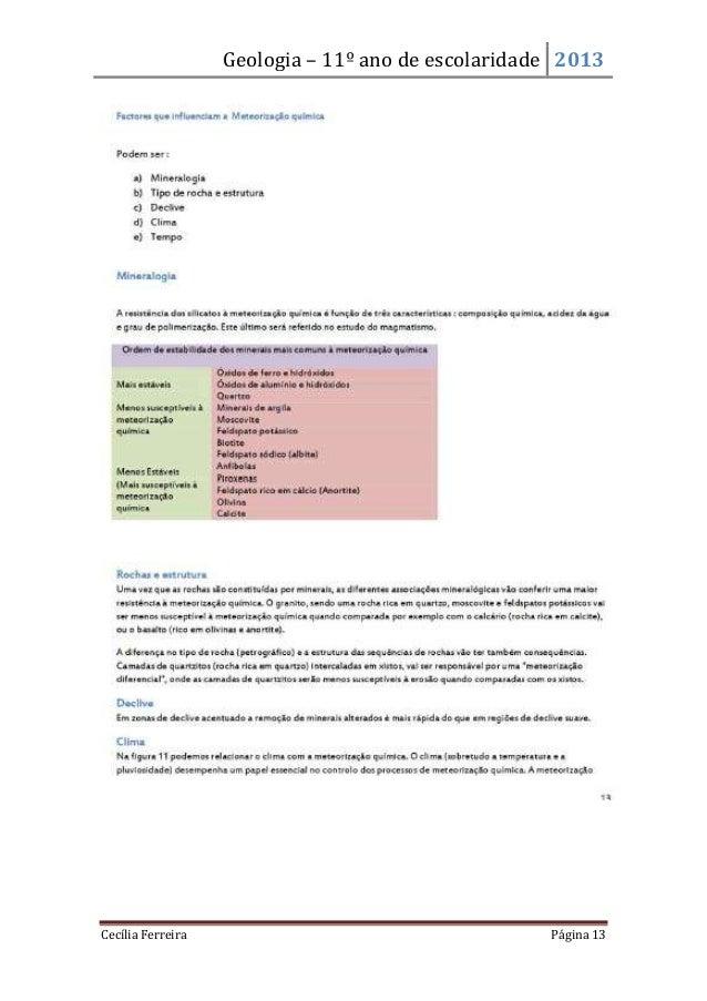 Geologia – 11º ano de escolaridade 2013Cecília Ferreira Página 13