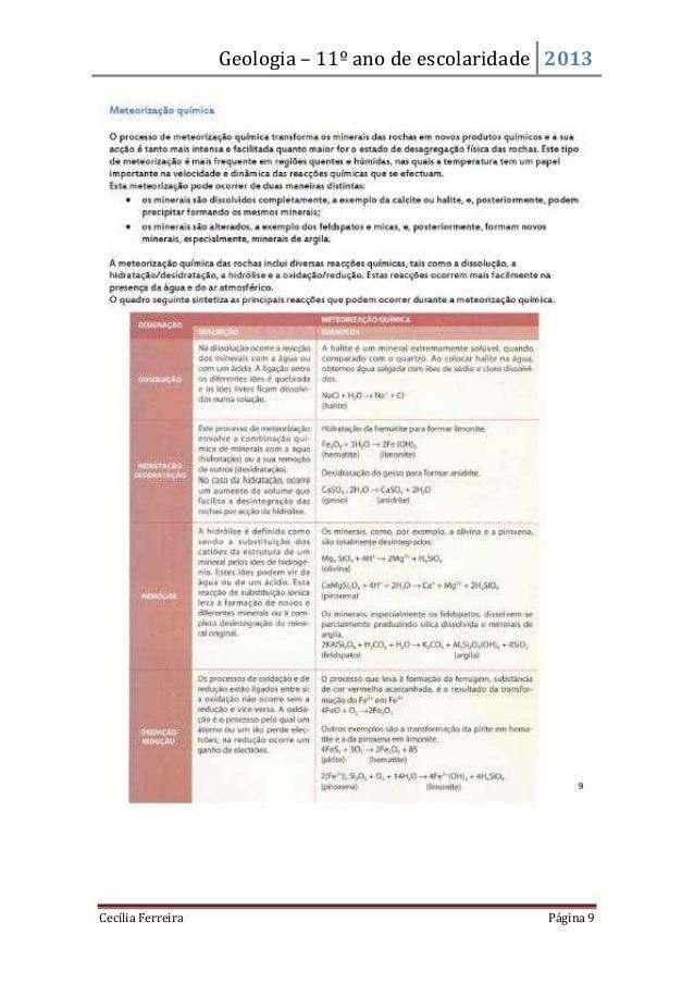 Geologia – 11º ano de escolaridade 2013Cecília Ferreira Página 9