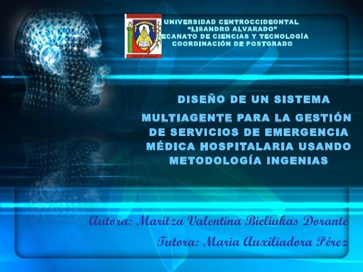DISEÑO DE UN SISTEMA MULTIAGENTE PARA LA GESTIÓN  DE SERVICIOS DE EMERGENCIA MÉDICA HOSPITALARIA USANDO METODOLOGÍA INGENI...