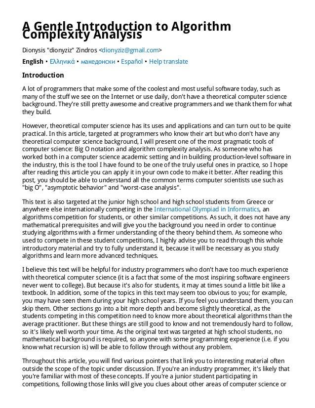 "A Gentle Introduction to Algorithm Complexity Analysis Dionysis ""dionyziz"" Zindros <dionyziz@gmail.com> English • Ελληνικά..."