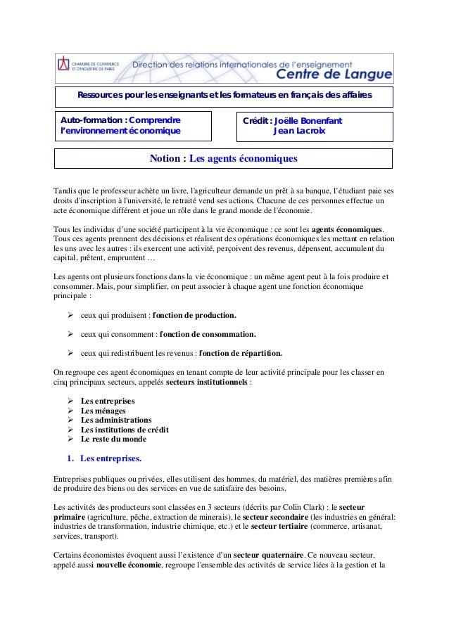 Ressources pour les enseignants et les formateurs en français des affaires  Auto-formation : Comprendre  l'environnement é...