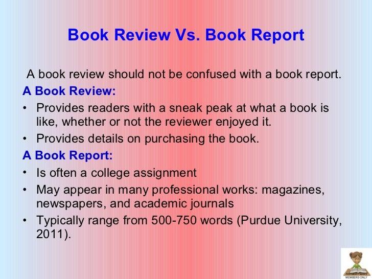 Book review vs book report