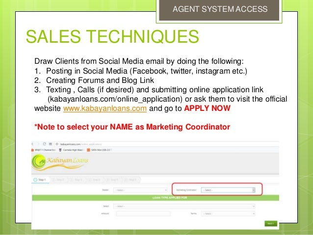 Agents System CRM kabayan loans credit solutions