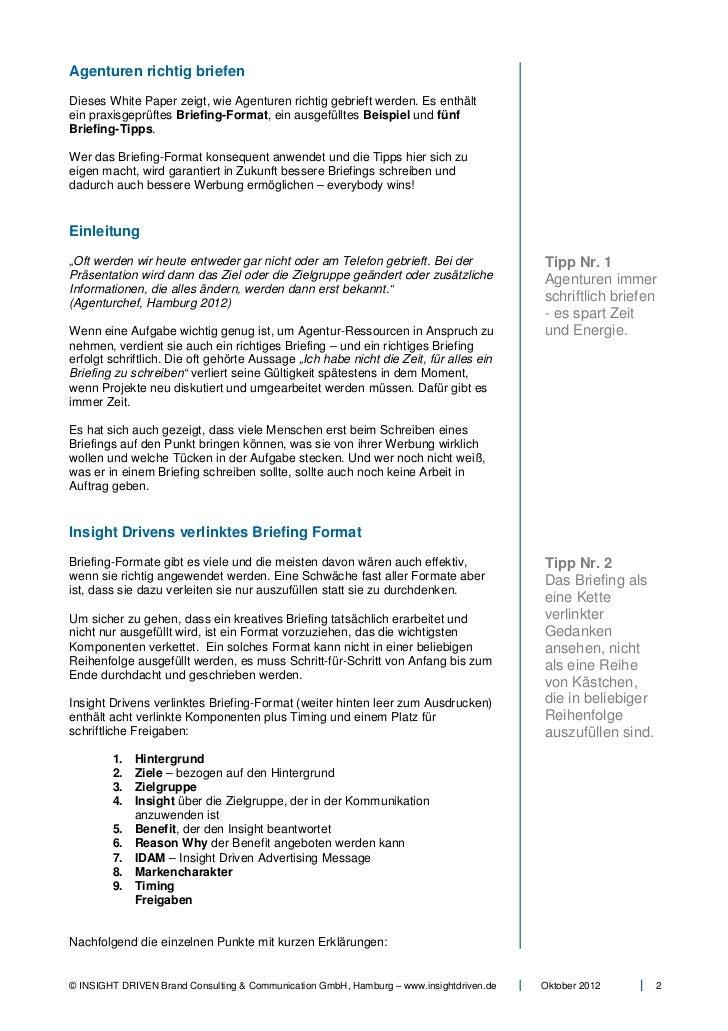 Agenturen Richtig Briefen White Paper Insight Driven Gmb H