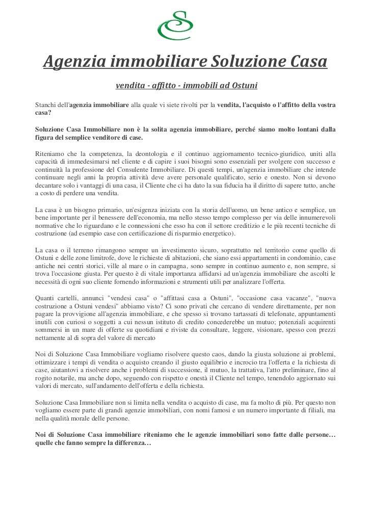 Agenzia immobiliare Soluzione Casa                              vendita - affitto - immobili ad OstuniStanchi dellagenzia ...