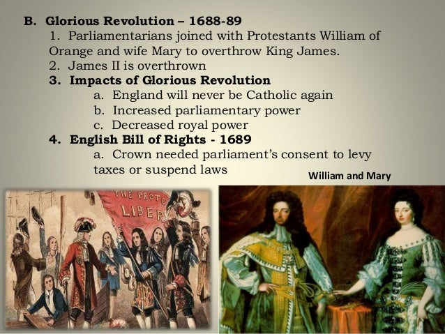 1688 Revolution Whigs vs. Tories Whigs Pro-Parliament.