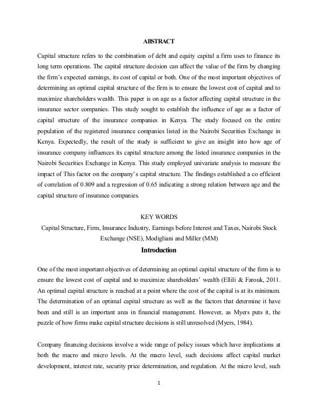 capital structure of a firm essay The modigliani-miller theorems: a cornerstone of finance  the first concerning the invariance of firm value to its capital structure and the other concerning its.